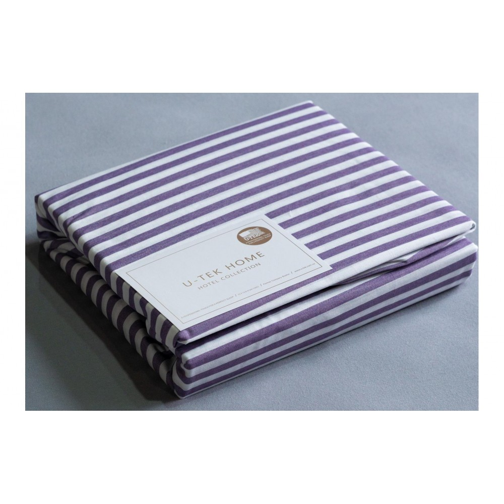 Простынь натяжная U-TEK Cotton Stripe Plum 30