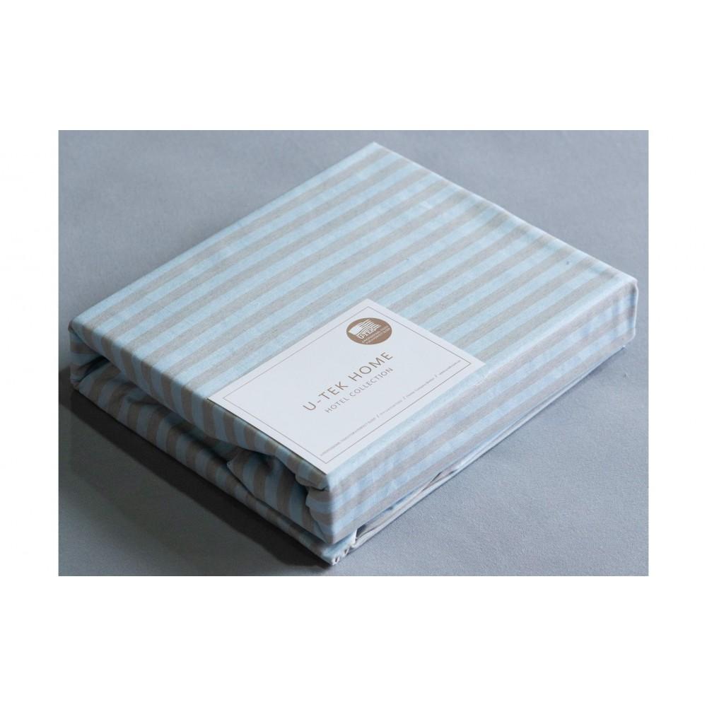 Простынь натяжная U-TEK Cotton Stripe Blue-Grey 30